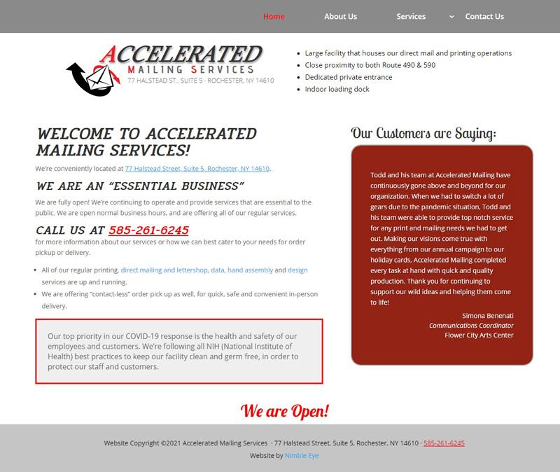 AcceleratedMailing.com home page screenshot