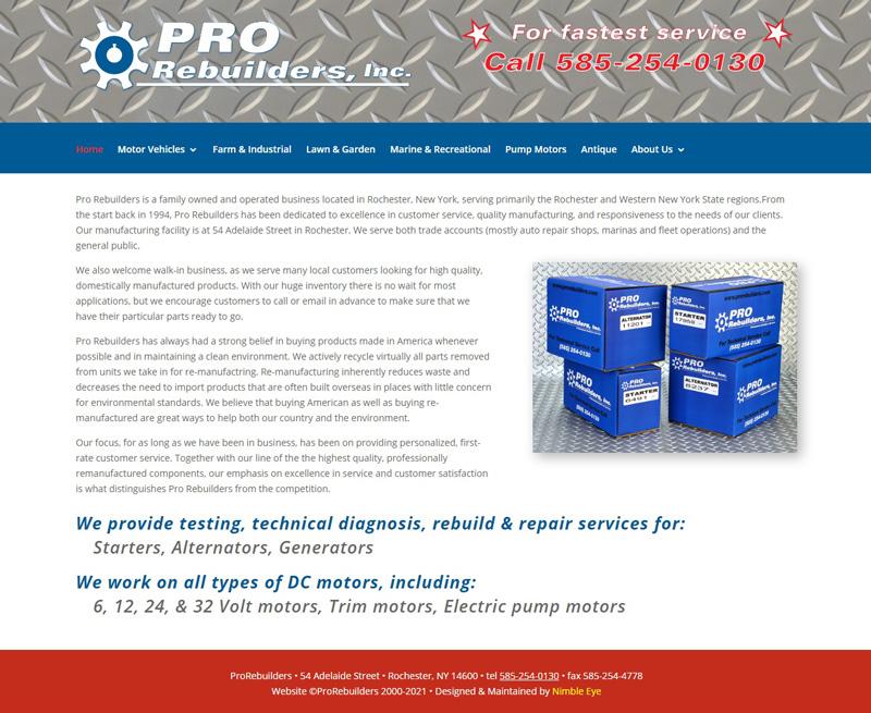 Home page image of ProRebuilders.com website
